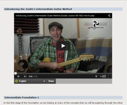 justin free guitar lessons intermediate