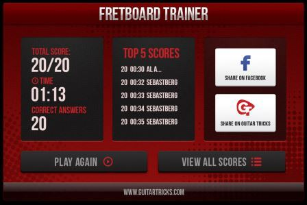 guitar tricks fretboard trainer my score