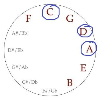 Circle of Fifths for Guitar with minors and 7ths 1